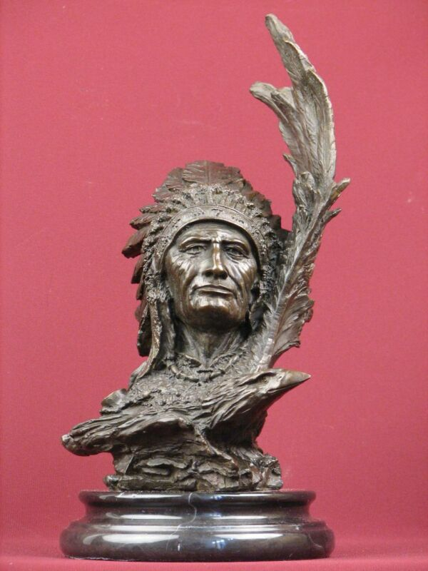SIGNED BRONZE SCULPTURE NATIVE  INDIAN HIGHLY DETAILED HANDCRAFTED BUST