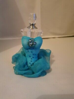 Perfume Scent Bottle Blue Victorian Style Dress