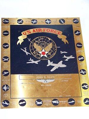 VINTAGE 1948 USAF/AIR FORCE BRASS PLAQUE USAAF WWII PLANES/MISSIONS!  DOOLITTLE