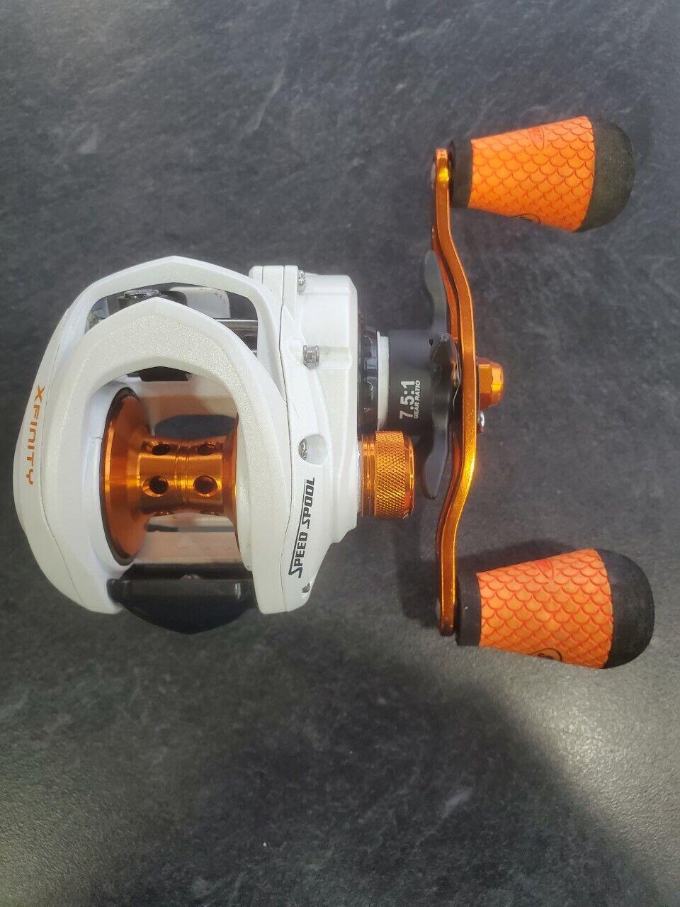 Lews Xfinity XF1SH Speed Spool Reel - orange - RH - 7.5 1 Ratio - 8 Bearing - $55.00