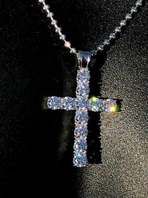 Solid 925 Sterling Silver Cross 5ct Lab Tennis Diamond W. Moon Cut Bead Chain 925 Sterling Silver Lab
