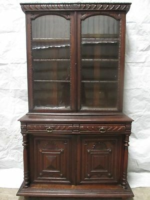 Superb Victorian carved Oak glazed bookcase cabinet (ref 003)