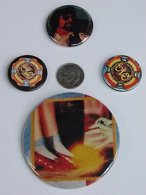 4 Electric Light Orchestra Promo Pins Badges Buttons from 80's ELO Jeff Lynne