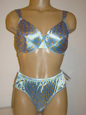 Victoria's Secret Vtg blue yellow polka dot Second Skin Satin bra bikini-38C XL