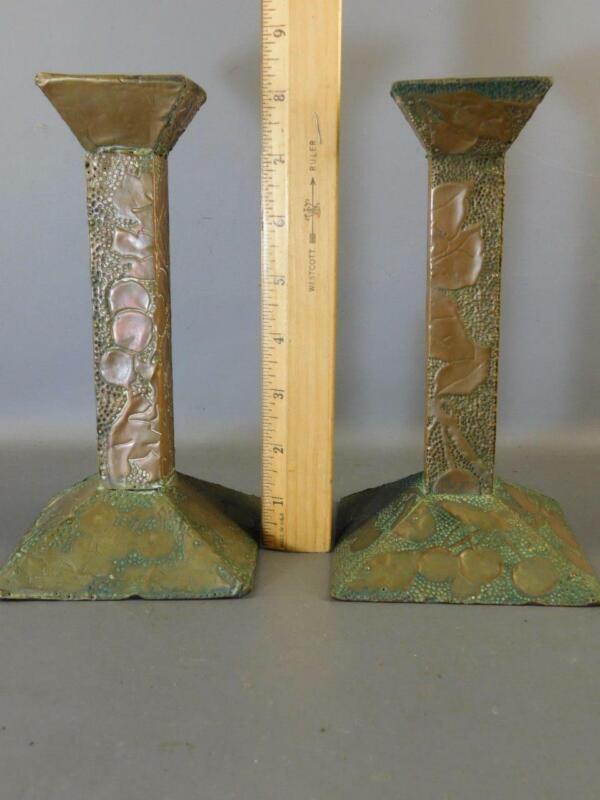 Antique Pair Arts & Crafts Pierced Hammered Brass DEKNATEL 1910 Candlesticks