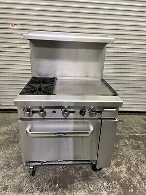 36 Range 2 Burner 24 Griddle Flat Top Gas Oven Atosa Ato-2b24g 4153 Commercial