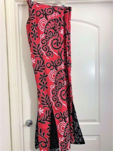 Pretty Hawaiian Polynesian Custom One Shoulder Dress W/Lace Bottom!  Worn Once!