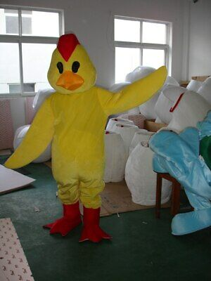 Yellow Chicken Mascot Halloween Adult Costume Outfit Cosplay Party Game Dress - Halloween Chicken Outfit