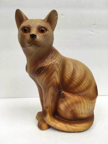 """Seated Cat Figurine Faux Wooden Resin 8"""" Tall Stunning Figurine"""