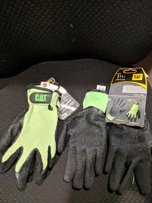 Cat X-large Fluorescent Green Latex Coated Knit Gloves Lot Of 2 Pair New