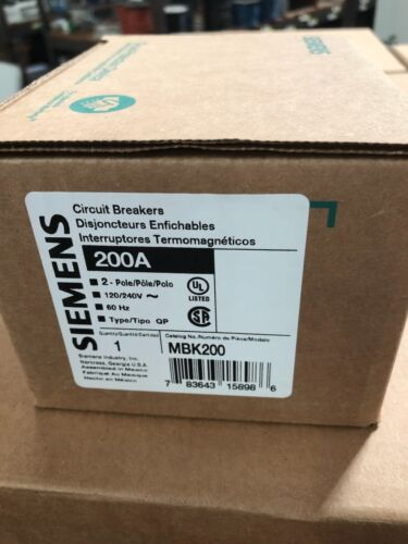 Siemens MBK200 2p 200a 120/240v Main Breaker EQ9685 New In Box