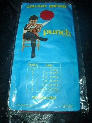 RAR 70er J. Vintage Kinder Strumpfhose Gr. 7-8 Jahre rot *PUNCH* Tights OVP