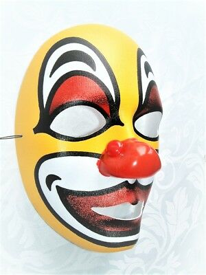 HALLOWEEN PARTY ADULT CLASSIC HAPPY RED NOSE & YELLOW CLOWN FULL FACE MASK