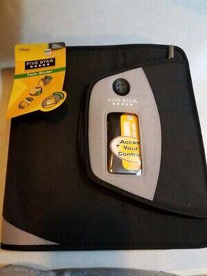 Nwt Five Star Zipper Binder Tech Pocket 2-gray Black 12-34 X 12