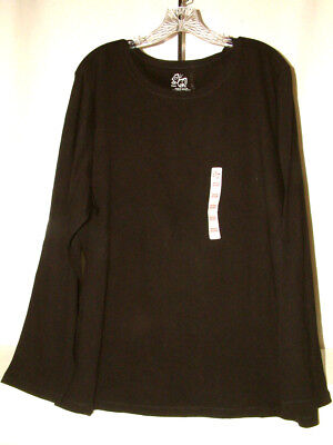 #4148 LONG SLEEVE ROUNDED NECK PULLOVER TOP FROM PERFECT FIT, BLACK, 26-28W, NEW