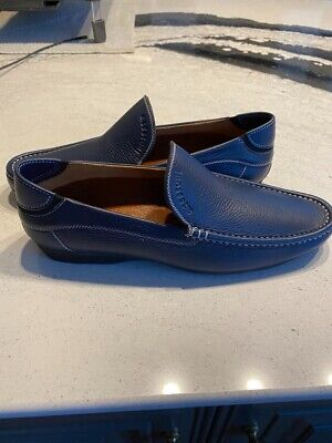 A. TESTONI Dinamico Solid Navy Pebbled Grain Leather Casual Shoes US 8