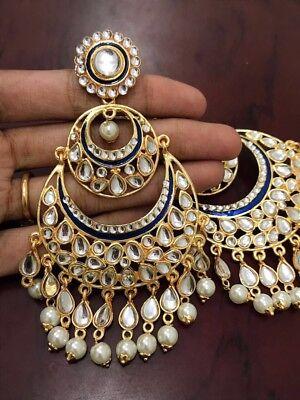 USA Indian Pakistani Bollywood Ethnic White Kundan Pearl Blue Chandbali Jhumka