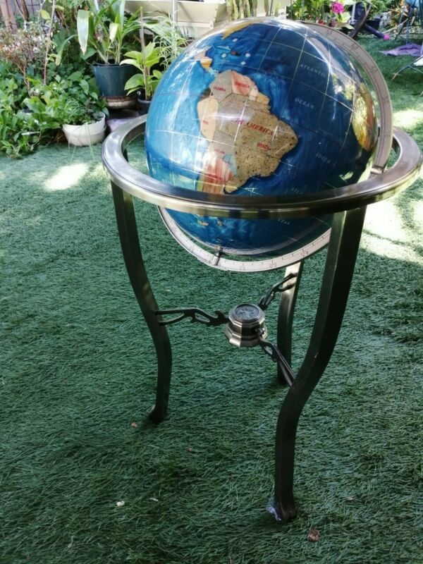 World Globe with Compass Brass Stand Semi-Precious Gemstone