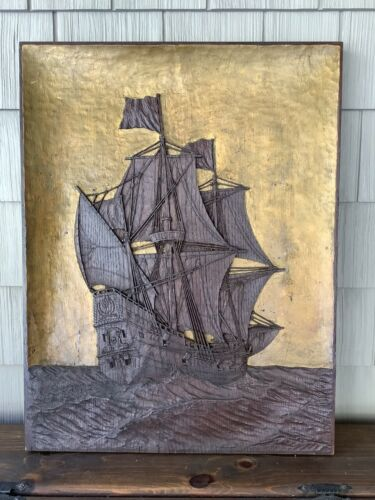 Fine Antique Relief Carved Ship in Full Sail