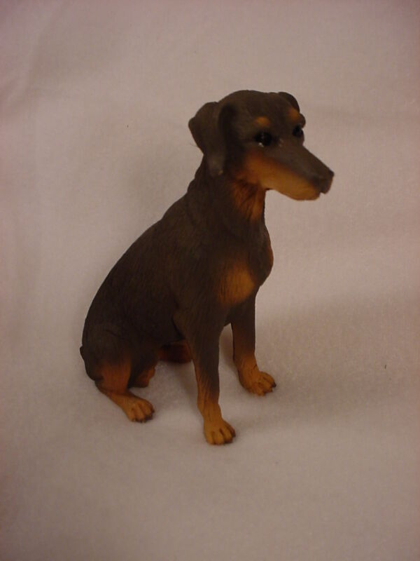 DOBERMAN PINSCHER dog HANDPAINTED FIGURINE resin COLLECTIBLE RED brown UNCROPPED