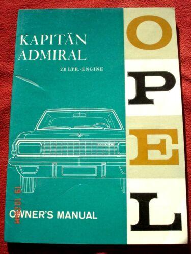 OPEL KAPITAN kapitän ADMIRAL 1964 ORIGINAL ENGLISH OWNERS MANUAL GLOSSY