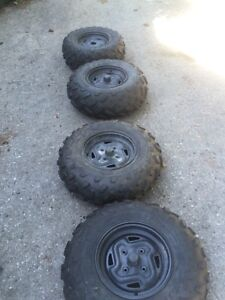 Quad tires on rims..  used once