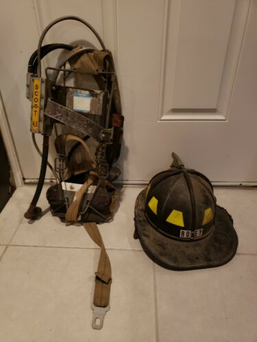 Firefighter Helmet Fireman Harness Back Pack Fresh Air Rescue Vintage