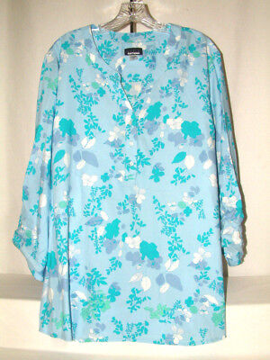 #4174 PLUS SIZE CONVERTIBLE SLEEVE  BLOUSE FROM BASIC EDITIONS, SZ 3X, NEW