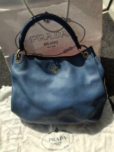 f6f0dcfe55a1 Original genuine blue Prada handbag