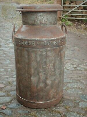 ANTIQUE RUSTIC WESTERN DAIRIES  MILK CHURN ( NEWCASTLE ON TYNE )