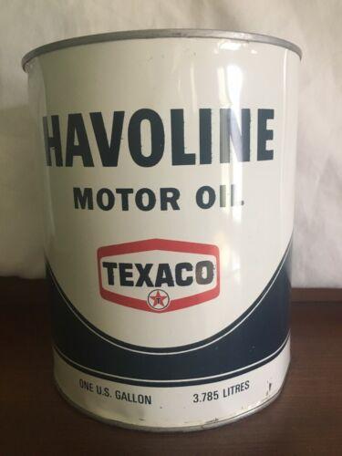 VTG Texaco Havoline 1 Gal Metal Tin Can Oil Gas Station Garage, Unopened & Empty
