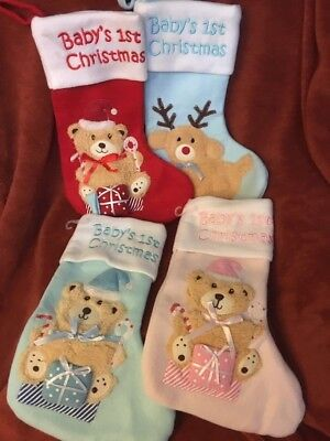 Babies 1st Christmas Stocking Pink Blue Red