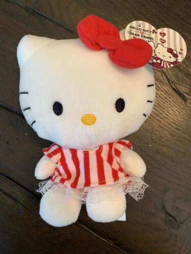 """Sanrio Hello Kitty - Dear Daniel - Red Pink Stripes Dress - Plush 7"""" - NWT"""