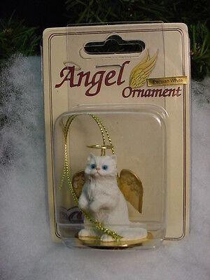 WHITE PERSIAN Kitty CAT ANGEL Ornament Resin Figurine statue Christmas kitten