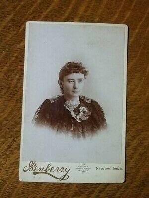 Antique Cabinet Photo Fancy Dress Victorian Lady W/Corsage Newton Iowa
