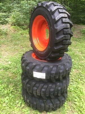 4 New 10-16.5 Galaxy Skid Steer Tires Wheelsrims For Bobcat -10 Ply-10x16.5