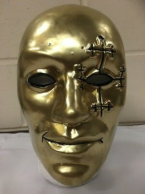 UK DANNY BOY GOLD HOLLYWOOD UNDEAD PLASTIC HALLOWEEN MASK FANCY DRESS UP CD BAND ()