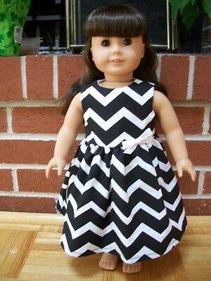 "CUSTOM HANDMADE American Girl 18"" doll clothes Chevron Black White Dress"
