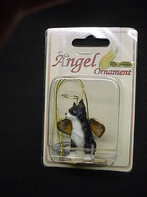CHIHUAHUA black white DOG ANGEL Figurine HAND PAINTED Statue Ornament NEW puppy