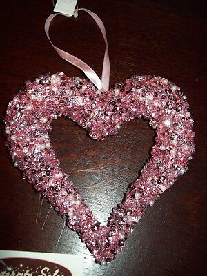 "NEW VALENTINE LARGE 5"" OPEN HEART ORNAMENT PINK SEQUINS & BEADS HANGING TREE"
