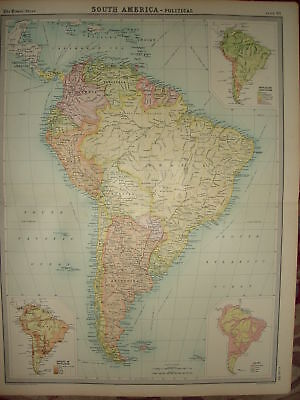 1920 LARGE MAP ~ SOUTH AMERICA ~ POLITICAL ~ 23