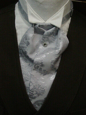 Ascot tie Old West Victorian Edwardian Wedding style gray brocade adjustable