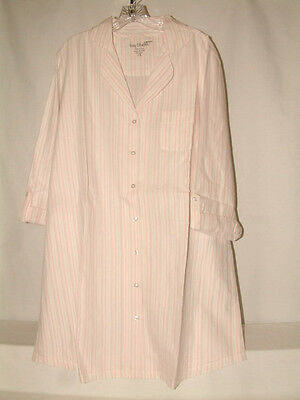 #3028 CONVT SLEEVE BUTTON FRONT NIGHTSHIRT FROM BAY STUDIO, MED, COOL&COMFY,NEW
