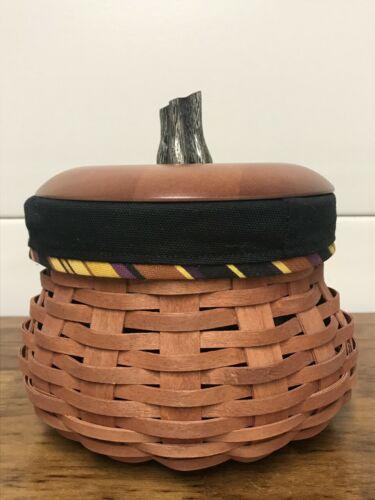 Longaberger 2007 Halloween Gourd Basket, liner, protector & lid Fall Autumn