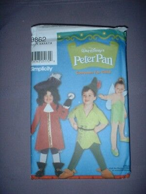 Capt Hook Costume (SIMPLICITY PATTERN 9862 ~ CHILD PETER PAN TINKER BELLE CAPT. HOOK ~ SZ 3-8 ~)