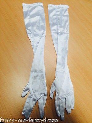 Halloween-kostüme, Weißen Handschuhen (Damen Sexy weiß lang Ellbogen Länge Halloween Kostüm Handschuhe)