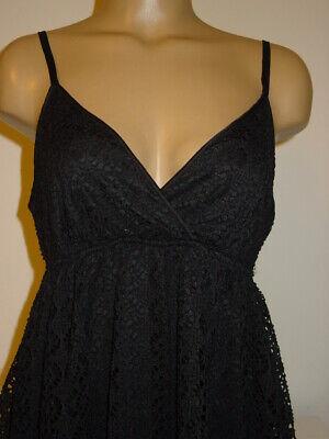 Women's Express Black Knit Dress Lace Crochet Overlay Empire Waist-M NEW