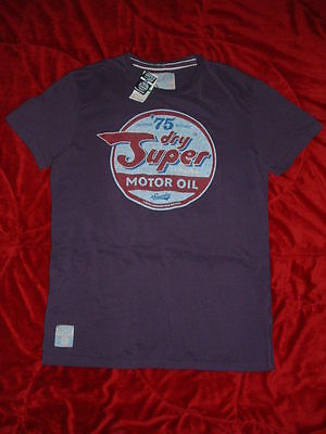 SUPERDRY Soot Purple '75 MOTOR OIL Mens  XXL, XL, L, M, 100% Cotton T-Shirt