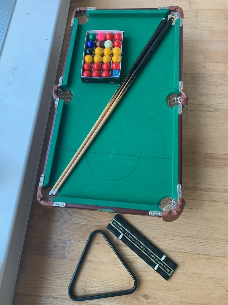 Jaques Mini Pool and Snooker Table 90cm x 50cm with balls, cues, triangle