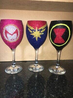 Female Superheros Villains Glitter Wine Glass DC Marvel Avengers Justice League - Female Villains Marvel
